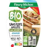 Saucisses Bio Fleury Michon Grillées aux herbes - 180g