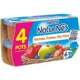 Nestlé - Naturnes Petits pots à la pomme, fraise et myrtille, dès 6 mois Les 4 pots de 130g( Prix Unitaire ) - Envoi Rapide Et Soignée